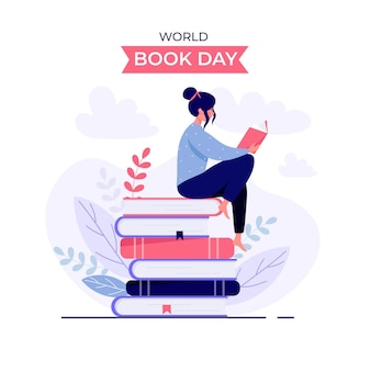 Organic flat world book day illustration