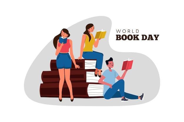 Organic flat world book day illustration