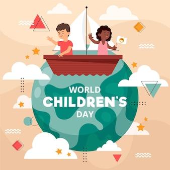Органический плоский мир детский день иллюстрация