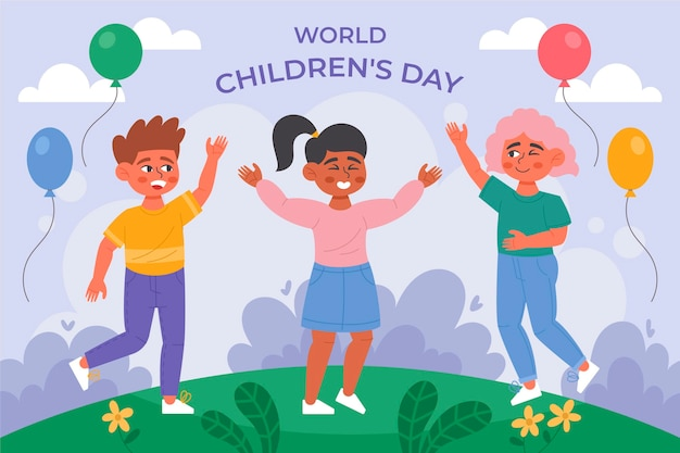 Organic flat world children's day illustration