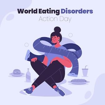 Органический плоский мир расстройств пищевого поведения иллюстрация дня действий Бесплатные векторы