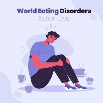 Organic flat world eating disorders action day illustration