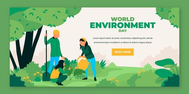 유기 평면 세계 환경의 날 배너 서식 파일