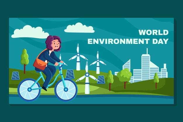Органический плоский всемирный день окружающей среды баннер шаблон