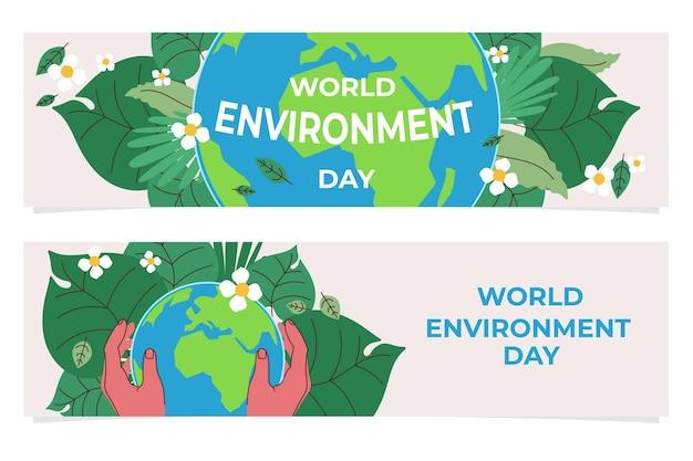 Set di banner di giornata mondiale dell'ambiente piatto organico