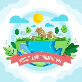 Органический плоский мир окружающей среды день иллюстрация