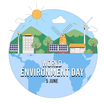 Органическая плоская иллюстрация дня окружающей среды