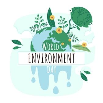 Illustrazione di giornata mondiale dell'ambiente piatto organico