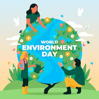 Organic flat world environment day illustration
