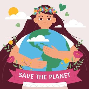 Organic flat world environment day save the planet illustration