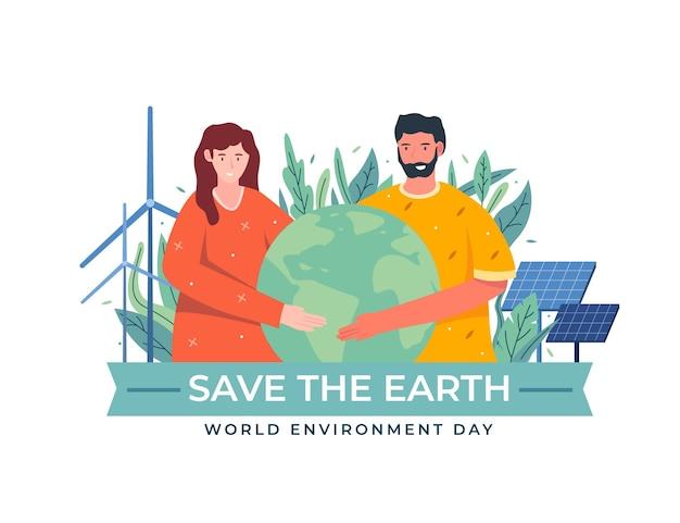 有機フラット世界環境の日は惑星のイラストを保存します