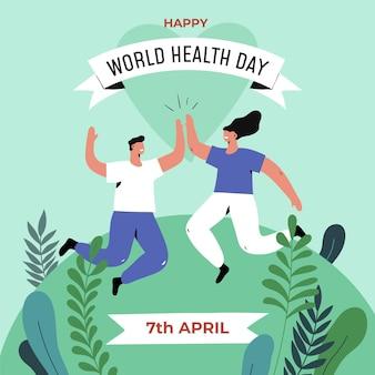 Illustrazione di assistenza sanitaria mondiale piatto organico