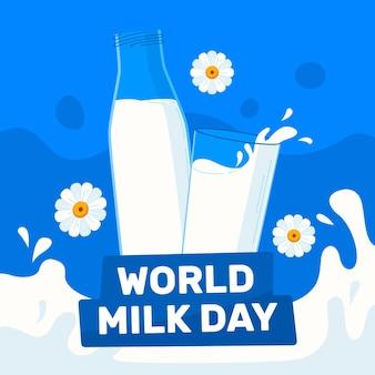 Органическая плоская иллюстрация всемирного дня молока