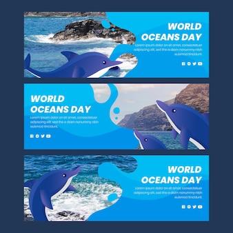 유기 평면 세계 바다의 날 배너 세트