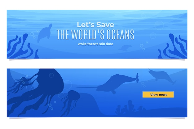 Набор органических плоских баннеров всемирного дня океанов