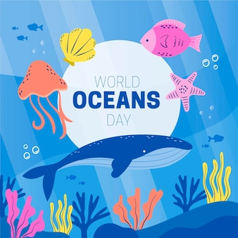 Organic flat world oceans day illustration