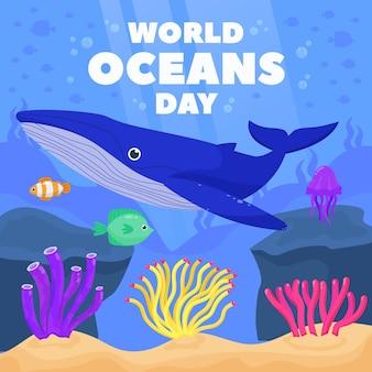 Органическая плоская иллюстрация всемирного дня океанов Бесплатные векторы