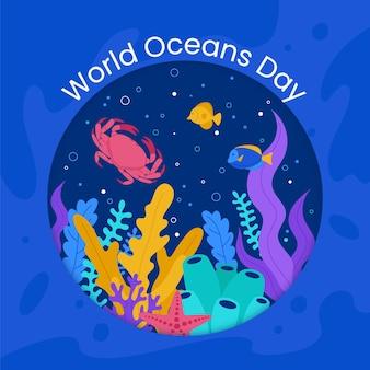 Illustrazione di giornata mondiale degli oceani piatti organici