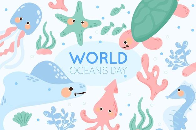 Organic flat world oceans day illustration
