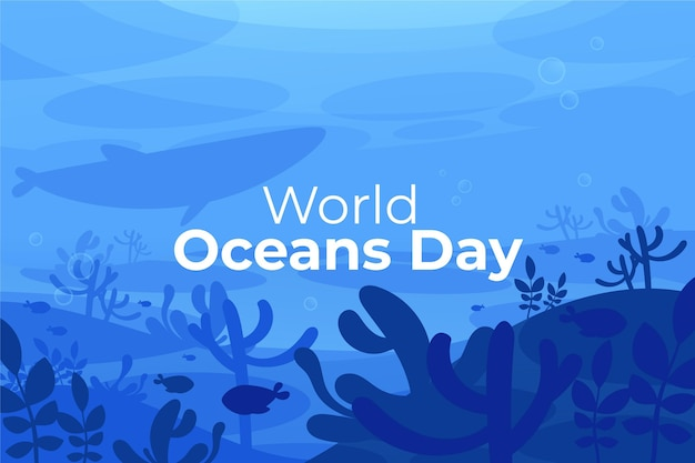 有機フラット世界海洋デーのイラスト