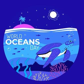 Органическая плоская иллюстрация всемирного дня океанов