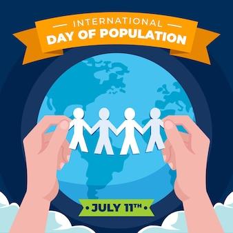 Illustrazione di giorno piatto organico della popolazione mondiale