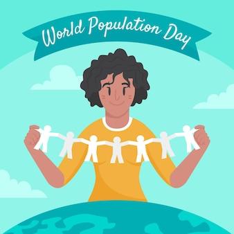 유기 평면 세계 인구의 날 그림