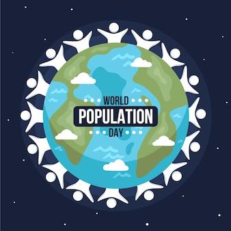 Органическая плоская иллюстрация дня населения мира