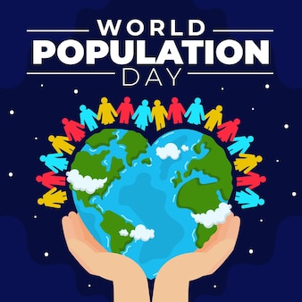 Organic flat world population day illustration