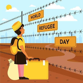 Illustrazione di giornata mondiale del rifugiato piatto organico