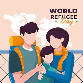 有機フラット世界難民の日のイラスト