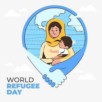 유기 평면 세계 난민의 날 그림