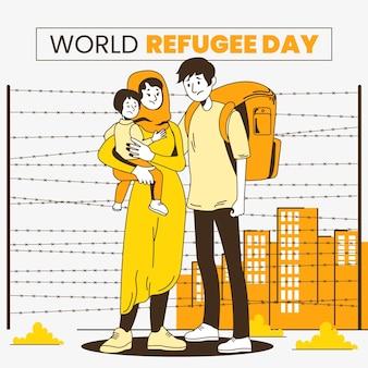 Organic flat world refugee day illustration