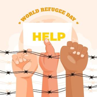 Органическая плоская иллюстрация всемирного дня беженцев