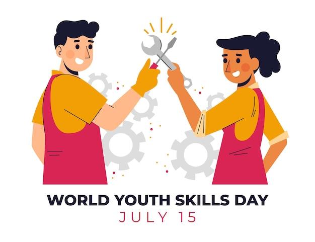 Organic flat world youth skills day illustration