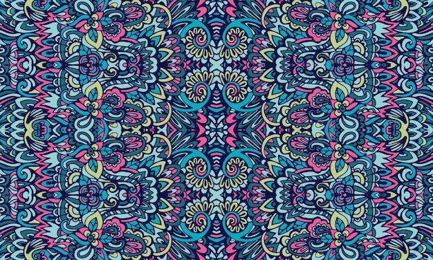 유기 꽃 페이즐리 낙서 예술 패턴. 에스닉 젠 스타일