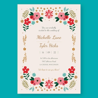 有機花の結婚式の招待状