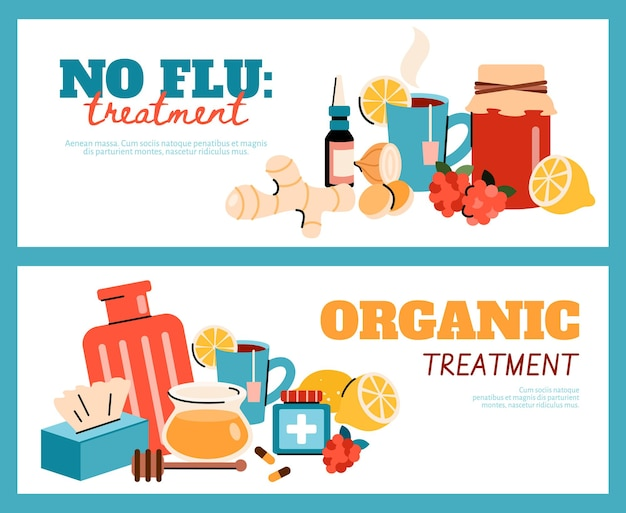 Organic flu and cold treatment flyer banner template set. healthy natural food, drink and medicine collection