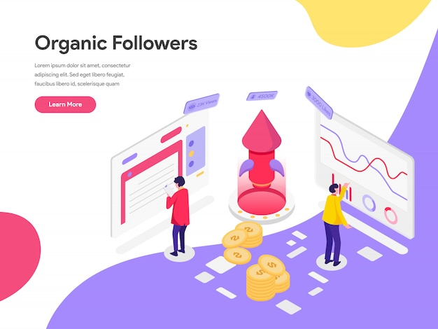 Organic followers isometric illustration concept