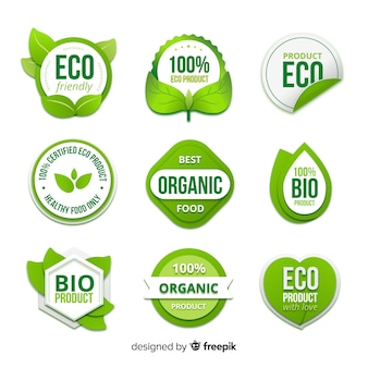 Organic food badge collection
