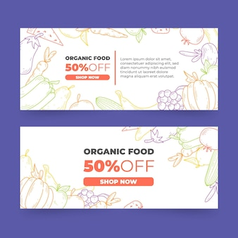 Organic food banners designs