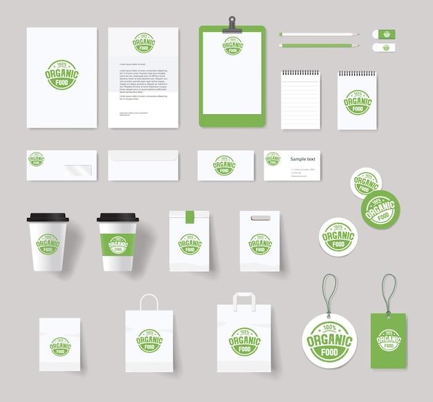 Фирменный стиль органических продуктов питания с дизайном логотипа