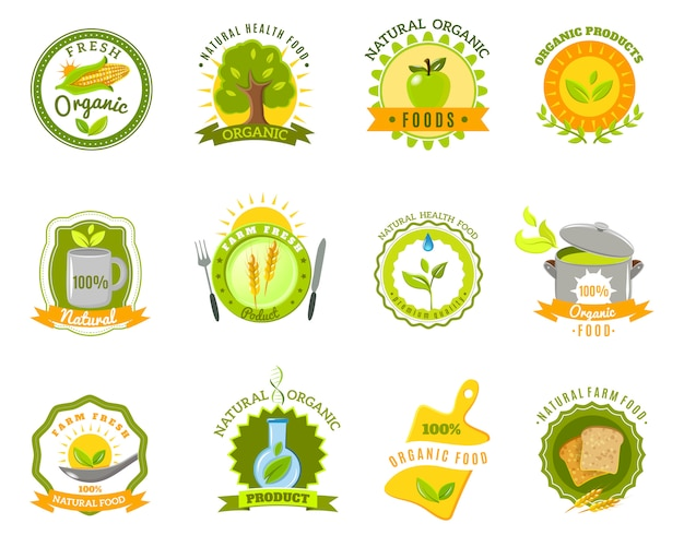 Organic food brands labels templates set flat