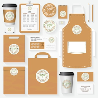 Organic food corporate identity template set with logo