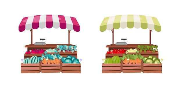 Набор плоских цветных объектов счетчика органических продуктов питания. уличный рынок свежих овощей и фруктов. магазин местных и натуральных продуктов питания изолированный мультфильм