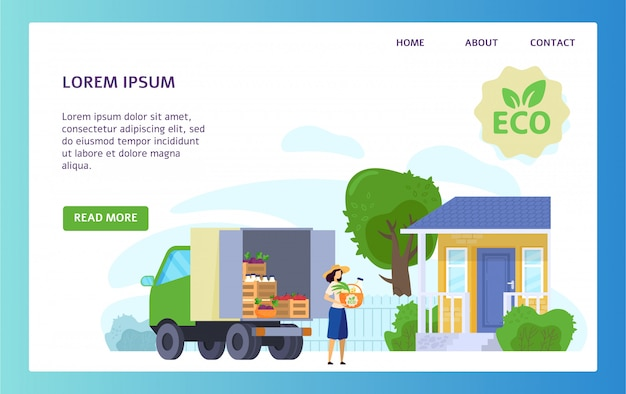 Organic food delivery truck, eco products from local farm, vector illustration