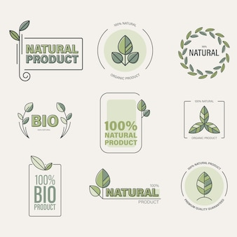 Organic food, eco products label collection.