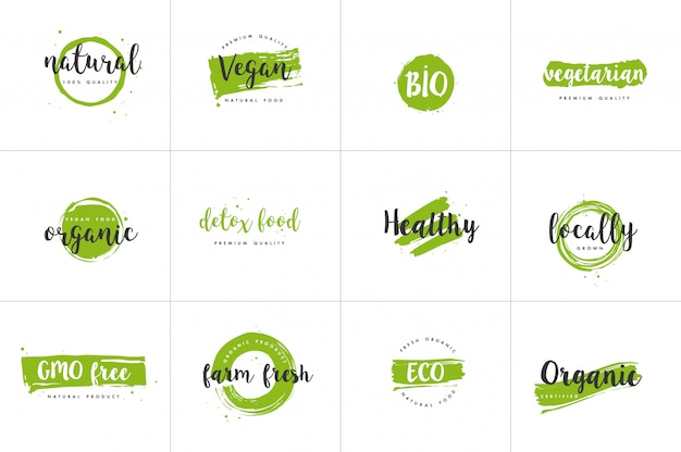 Organic food, farm fresh and natural product labels set
