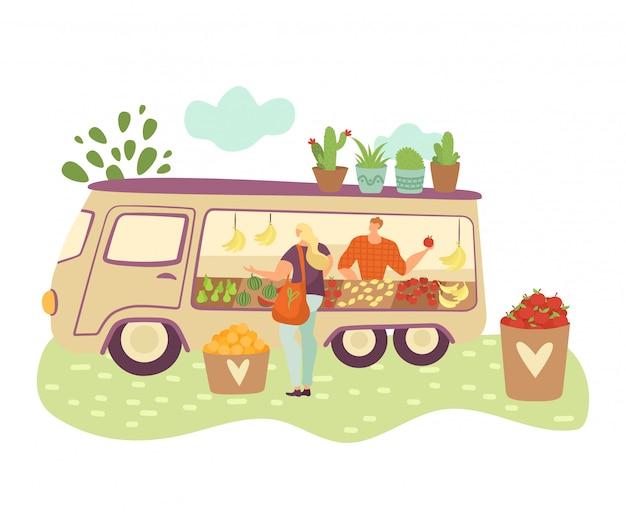 Тележка фермера натуральных продуктов, фермеры с сбором овощей, фрукты и покупки женщины изолированные на белой иллюстрации шаржа.