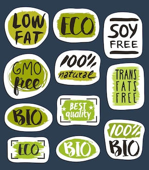 Organic food hand drawn labels set